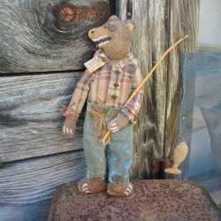 Primitive Folk Art Bear with Fishing Pole - Country, Lodge or Cabin Decor